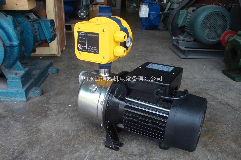 """技术参数: 输入电压:220V 频率:50HZ 最大电流:10A 防护等级:IP65 压动压力:1.5bar 最高工作温度:60 接口:1""""外螺纹 配套水泵功率:≤1.1KW  操作提示: LS-8接入电路之后,绿色的发光二极管""""Power on""""点亮;同时,黄色的发光二极管""""Pump on""""点亮,表明水泵已启动。 水泵持续运行几秒钟,对整个系统管道进行充压,达到所需的压力后停止运转。 如果在上述几秒内,系统无法达到预定的压力,那么红色的发光二极发光"""