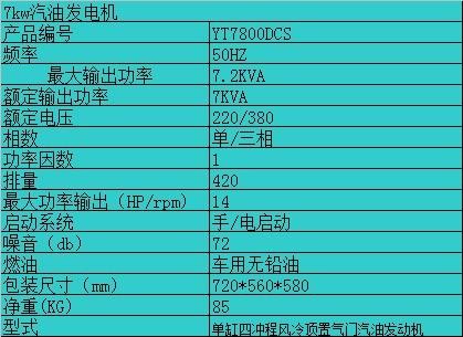 上海7kw单相汽油发电机
